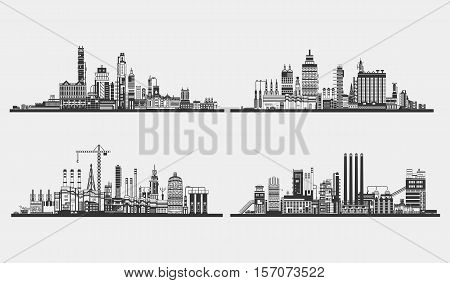 Industrial plant or building, factory exterior view. Silhouette of assembly or manufacture line, power plant. Industrial architecture design, chemical plant or industry structure, factory, plant logo