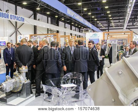 St. Petersburg, Russia - 5 October, A crowd of business people at Gas Forum, 5 October, 2016. Petersburg Gas Forum which takes place in Expoforum.