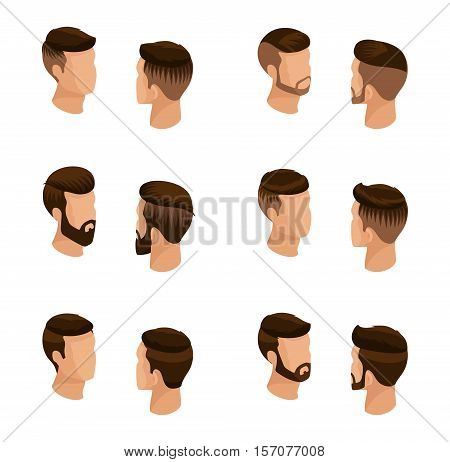 Isometric set of avatars men's hairstyles hipster style. Laying beard mustache. Modern stylish hairstyle young people fashion business isolated. Vector illustration.