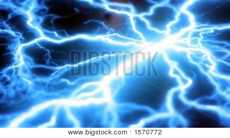 Heavy Blue Electricity Storm Against A Black Background