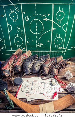 Formation Tactics In Hockey On Old Wooden Table