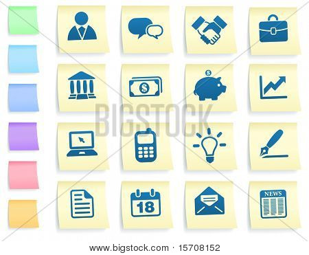 Economy Icons on Post It Note Paper Collection Original Illustration