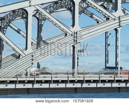Steel metal old bridge over the river