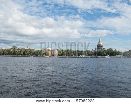 Panorama of St. Isaac's Cathedral from the embankment of the river Neva