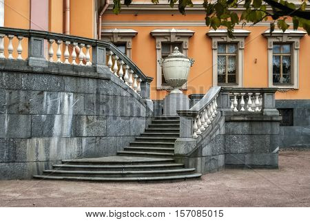 Image of the grand staircase of the Mikhailovsky (Engineers') Castle in Saint-Petersburg. Facing is made of gray granite and marble.