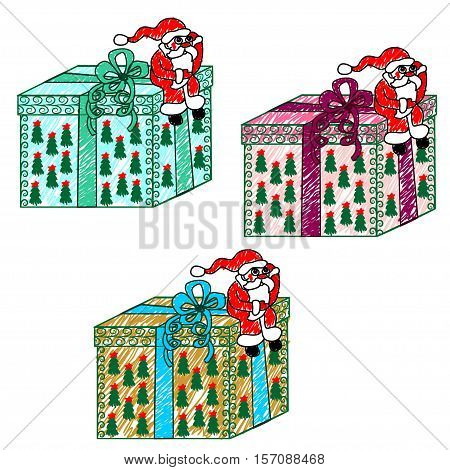 Child's drawing of Santa Claus with a gift. Vector illustration. Santa Claus sits on top of the big box and thinks how to Deliver it to the children.