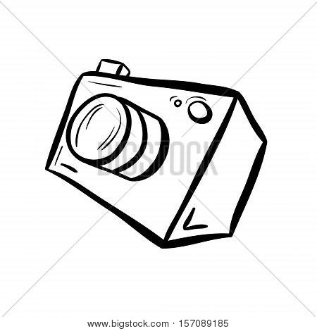 Vector illustration of a camera. Take a photo take a picture. Simple line style drawing. Black on white background.
