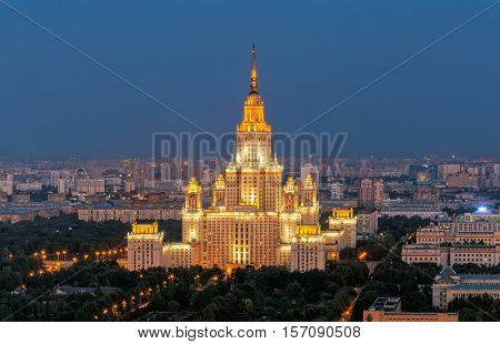 Moscow State University - one of Stalin skyscrapers at summer night in Moscow