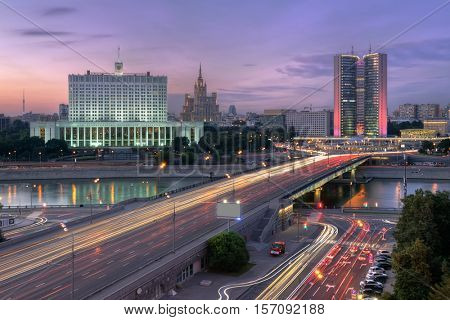 Government of Russian Federation, Novoarbatsky bridge in Moscow, Russia at evening