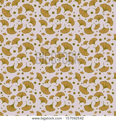 seamless patterns with leaves of ginkgo. hand drawn leaves