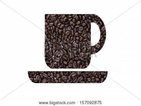Cup of black coffee shape created from beans on white background