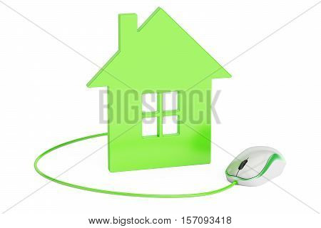computer mouse connected to house home control or real-estate concept. 3D rendering