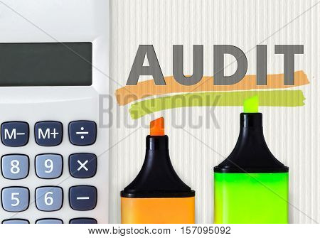 Audit business abstract concept. Calculator with highlighters