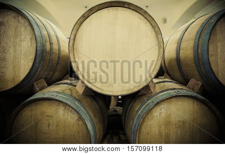 Wooden Wine barrels in the wine cellar