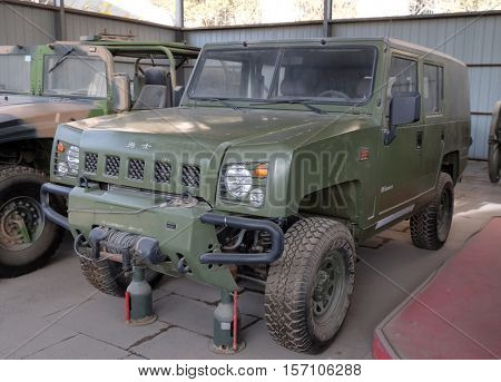 BEIJING - FEBRUARY 25: The Chinese Yongshi Field SUV in the Military Museum of the Chinese People's Revolution in Beijing, China, February 25, 2016.