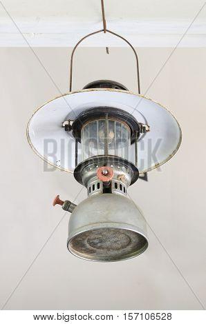 Antique Hurricane Lamp isolated on white background