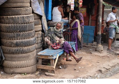 KOLKATA, INDIA - FEBRUARY 10: A homeless person on the streets of Topsia, people who can only sustain themselves through begging. Kolkata, India on February 10, 2016.