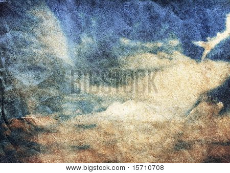old grungy illustration, beautiful cloudscape