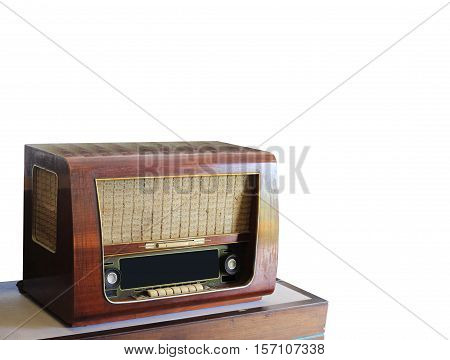Old radio on a white background with clipping path.