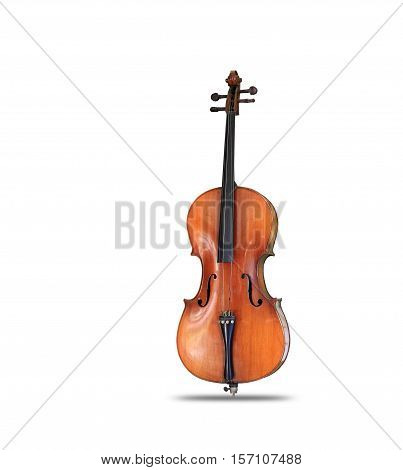 Cello isolated on white background for music, with clipping path.