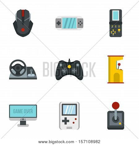 Computer games icons set. Flat illustration of 9 computer games vector icons for web