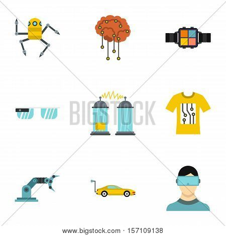 Electronic devices of future icons set. Flat illustration of 9 electronic devices of future vector icons for web