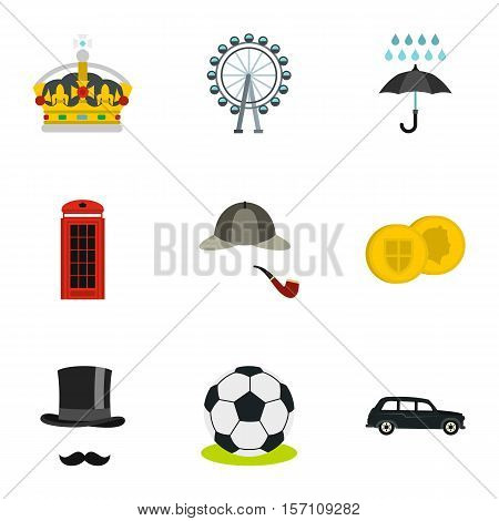 Holiday in United Kingdom icons set. Flat illustration of 9 holiday in United Kingdom vector icons for web