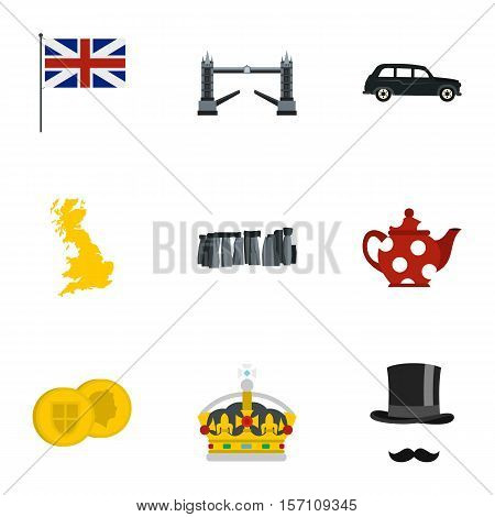 Tourism in United Kingdom icons set. Flat illustration of 9 tourism in United Kingdom vector icons for web