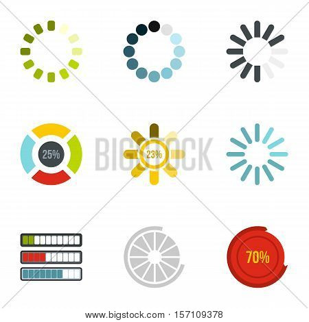 Download icons set. Flat illustration of 9 download vector icons for web