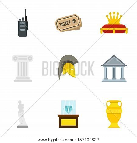 Stay in museum icons set. Flat illustration of 9 stay in museum vector icons for web