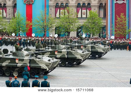 """MOSCOW - MAY 6: BMP-3, """"Infantry Combat Vehicle"""" in the Dress rehearsal of Military Parade on 65th anniversary of Victory in Great Patriotic War on May 6, 2010 on Red Square in Moscow, Russia"""