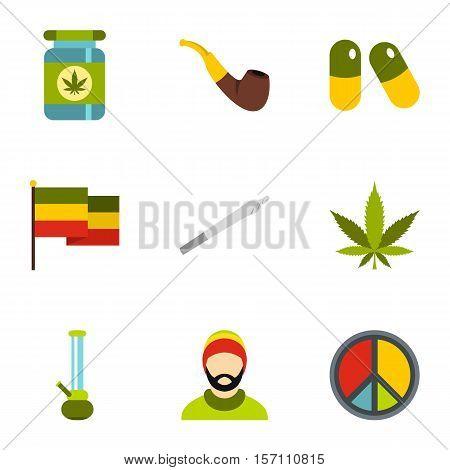 Drug icons set. Flat illustration of 9 drug vector icons for web