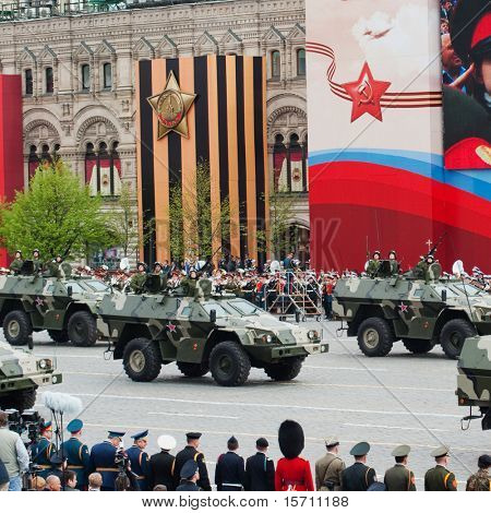 MOSCOW - MAY 6: Patrol car in the Dress rehearsal of Military Parade on 65th anniversary of Victory in Great Patriotic War on May 6, 2010 on Red Square in Moscow, Russia