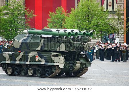 MOSCOW - MAY 6: BUK-M2 missile system in the Dress rehearsal of Military Parade on 65th anniversary of Victory in Great Patriotic War on May 6, 2010 on Red Square in Moscow, Russia
