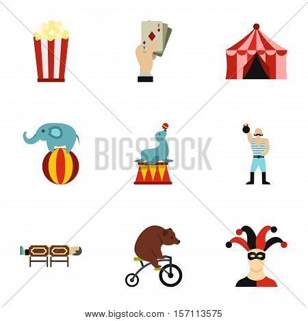 Concert in circus icons set. Flat illustration of 9 concert in circus vector icons for web