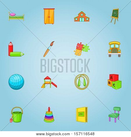 Kindergarten icons set. Cartoon illustration of 16 kindergarten vector icons for web