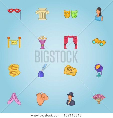 Theatre icons set. Cartoon illustration of 16 theatre vector icons for web