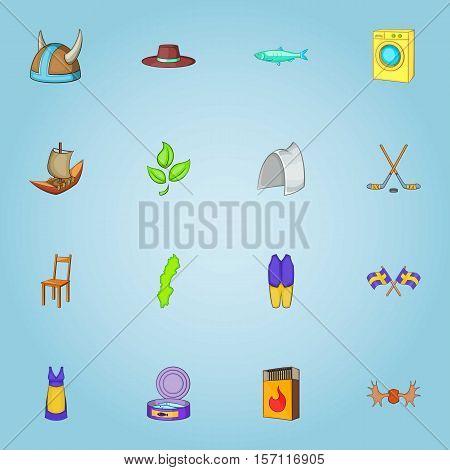 Sweden icons set. Cartoon illustration of 16 Sweden vector icons for web