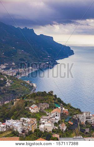 amalfi coast looking from raod to ravello mediterranean sea south italy
