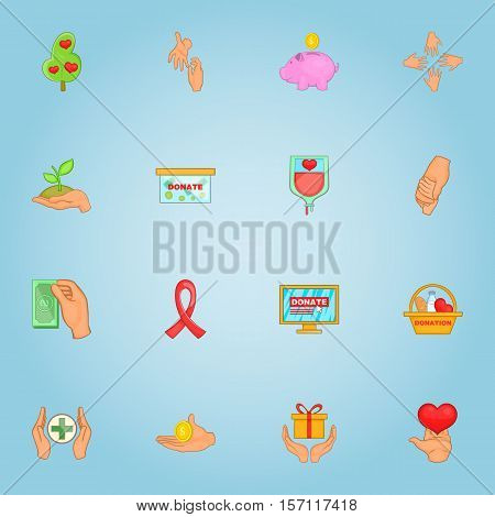 Donation icons set. Cartoon illustration of 16 donation vector icons for web