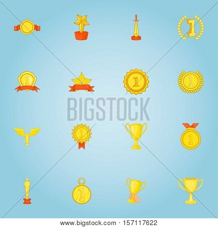 Rewarding icons set. Cartoon illustration of 16 viruses and bacteria vector icons for web