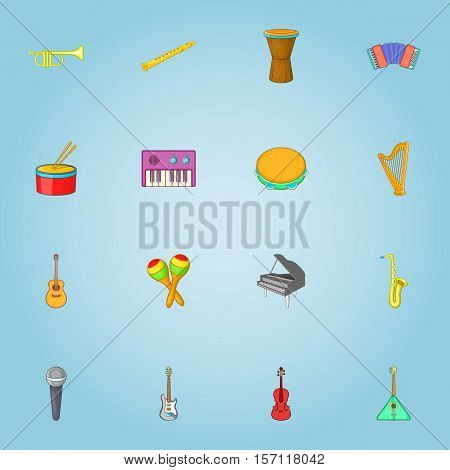 Musical instruments icons set. Cartoon illustration of 16 musical instruments vector icons for web