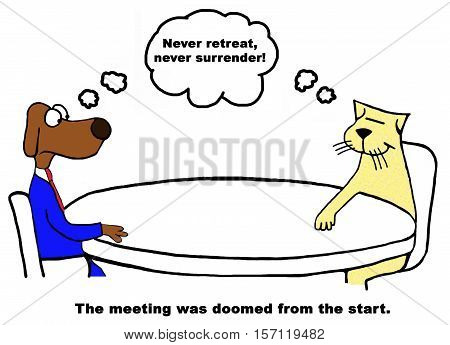 Color business cartoon about a meeting that is doomed from the start.