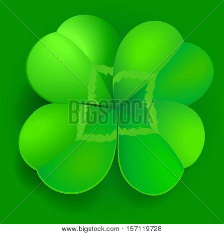 Green shamrock trefoil or clover leaf on green background. irish symbol for patrick day celebration.