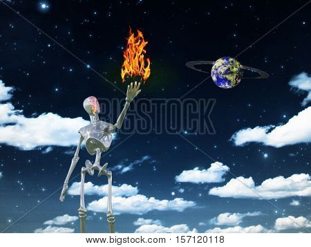 Alien bringing fire in universe    3D Render  Some elements provided courtesy of NASA