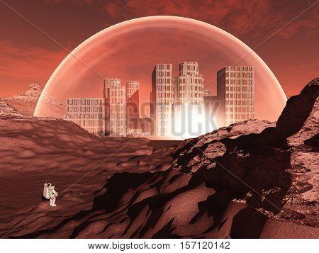 Domed city in inhospitable planet perhaps mars   3D Render