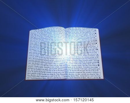Book with floating text and light   3D Render