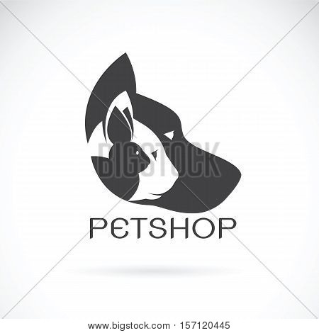Vector image of pets design on white background. Petshop Dog Cat Rabbit Animal Logo