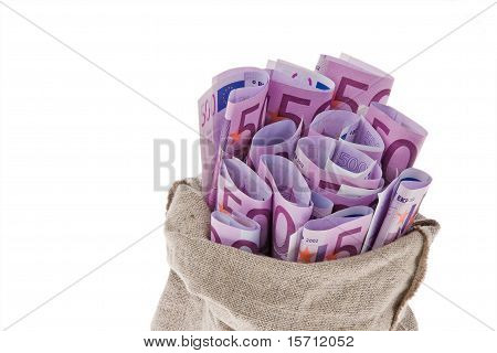 Bag with lots of ? banknotes