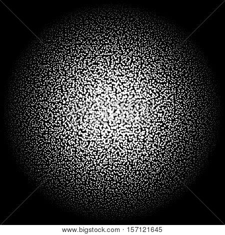 Chaotic Pointillist (half-tone) Circle Pattern. Random Dots.